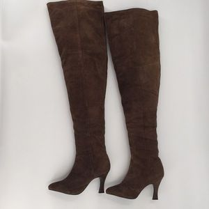 Shoes - Over The Knee Brown Suede Heeled Boots 6.5
